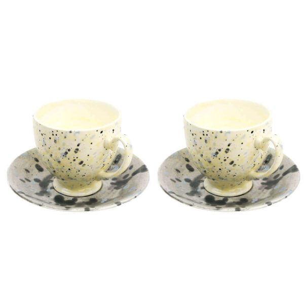 LARGE CUP AND SAUCER, SET OF 2