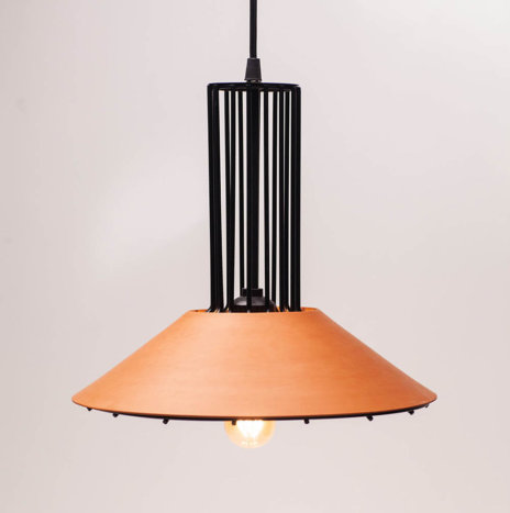 TYPICAL CLAY AND METAL PENDANT LAMP