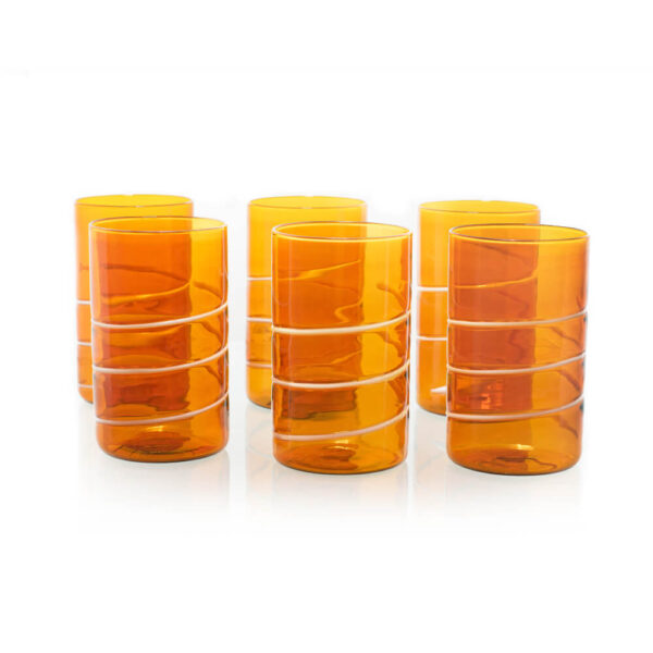 AMBER LONG DRINK TUMBLERS SET