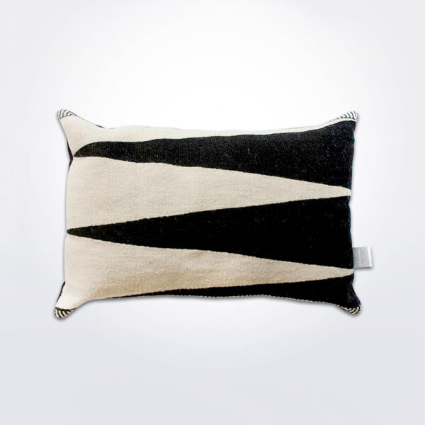 Blaga black and white pillow cover with pillow.
