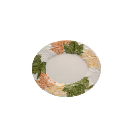 FALL LEAVES CERAMIC OVAL PLATTER