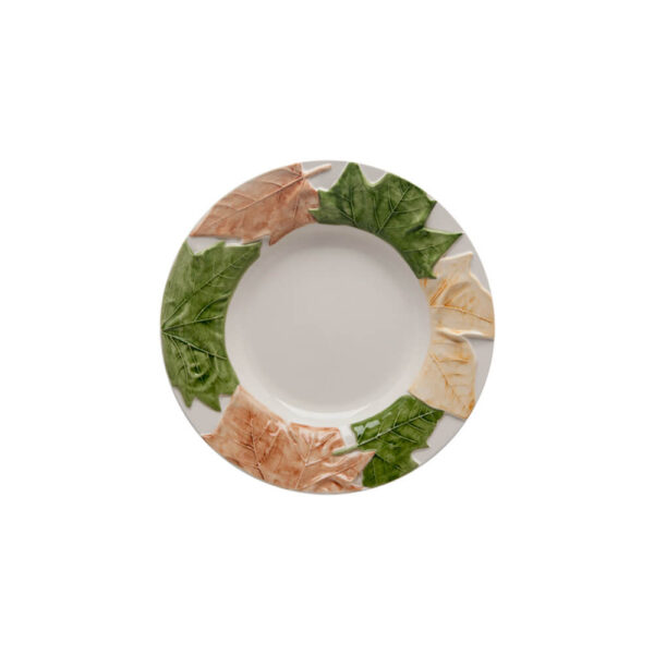 FALL LEAVES CERAMIC SOUP PLATE