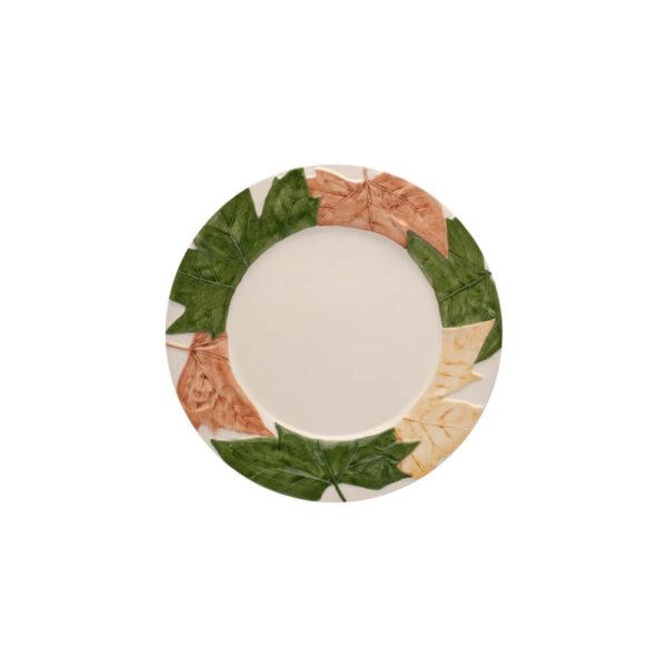 FALL LEAVES ON RIM CERAMIC DINNER PLATE