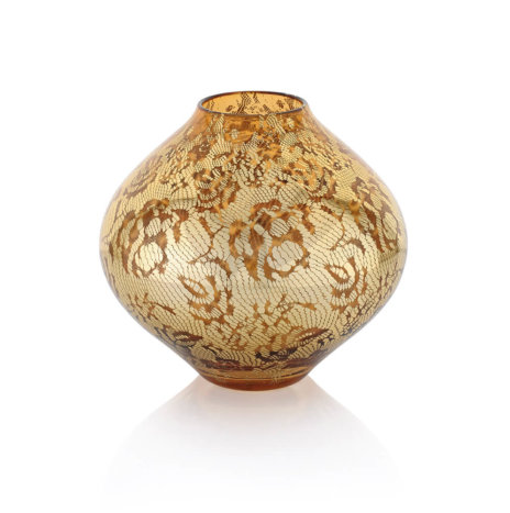 FLORAL PATTERNED GOLDEN SHORT VASE
