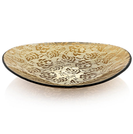 FLORAL PATTERNED OVAL CENTERPIECE