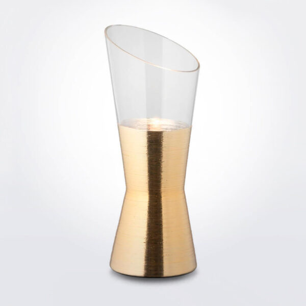 Futura clear and gold desk lamp product photo.