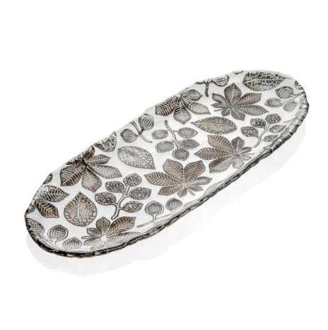 NATURALIA GRAY FLORAL TRAY