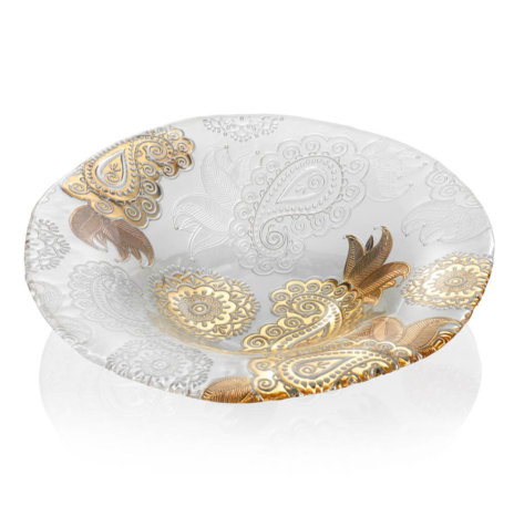 PASHMINA CLEAR AND GOLD PAISLEY BOWL