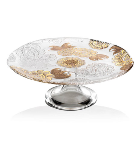 PASHMINA CLEAR AND GOLD PAISLEY CAKE STAND