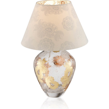 PASHMINA CLEAR AND GOLD PAISLEY DESK LAMP