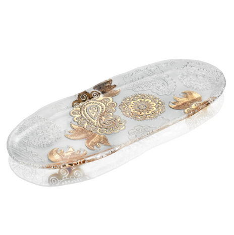 PASHMINA CLEAR AND GOLD PAISLEY OVAL TRAY