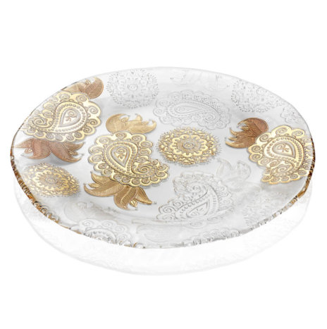 PASHMINA CLEAR AND GOLD PAISLEY PLATTER