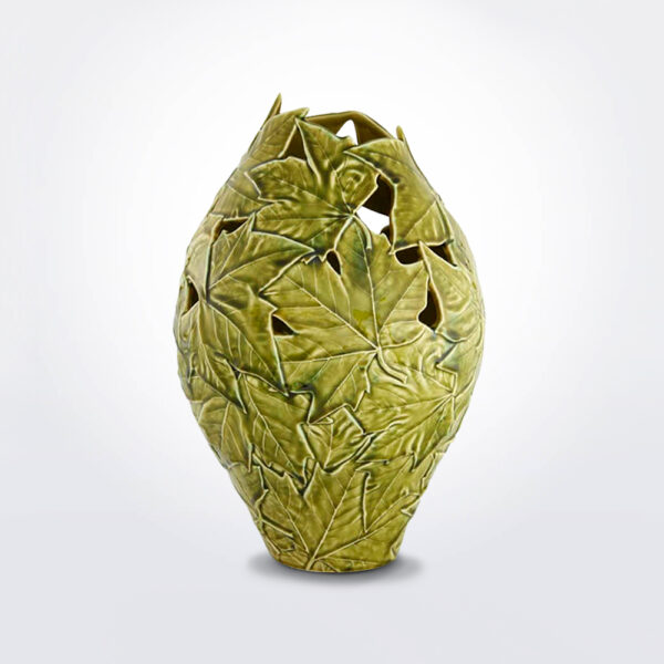 Plantain leaves ceramic tall vase photo product.