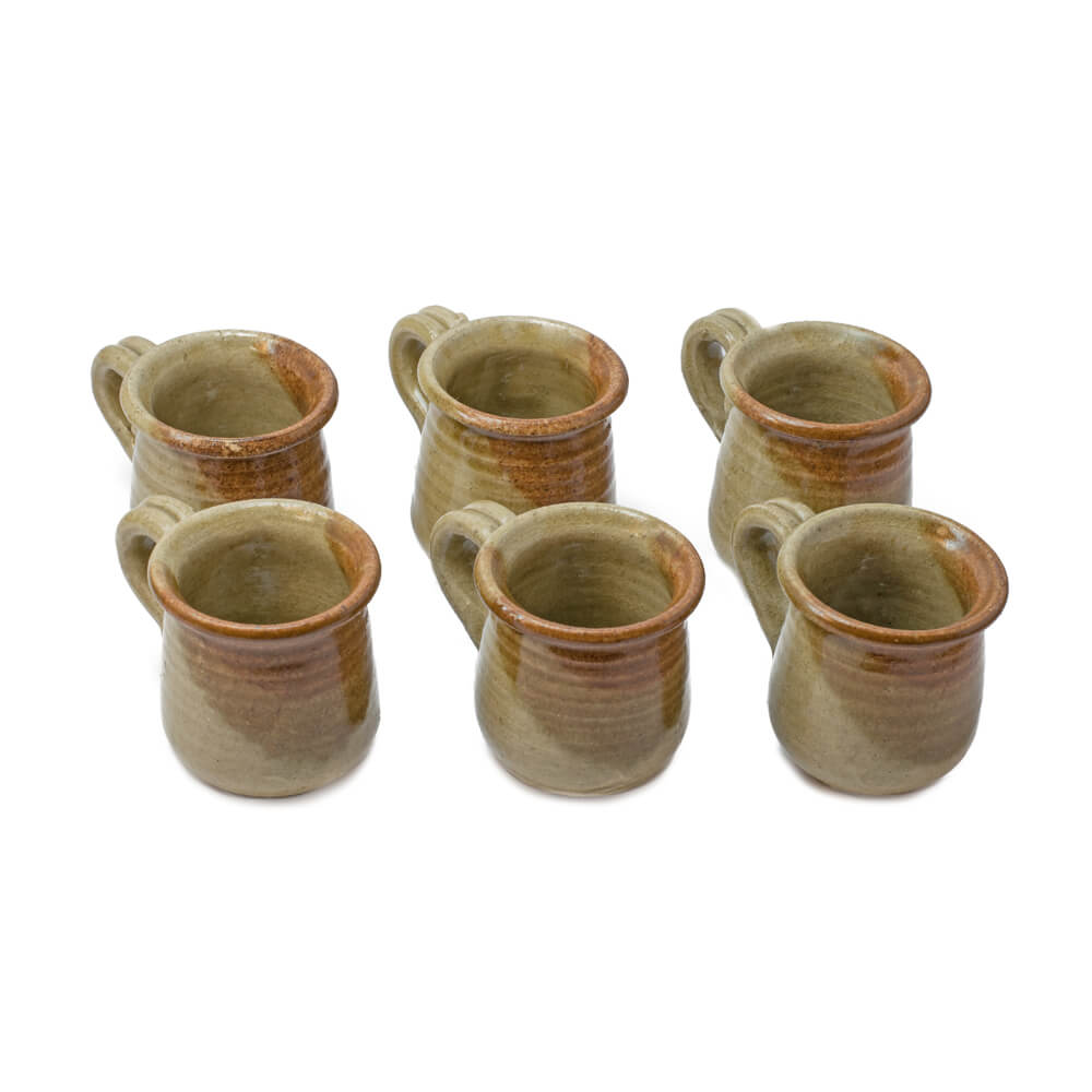 STONEWARE BROWN COFFEE CUPS SET (1) (1)