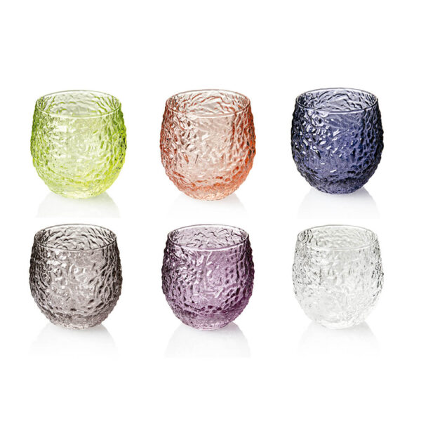 WRINKLED COLORED WATER TUMBLERS SET