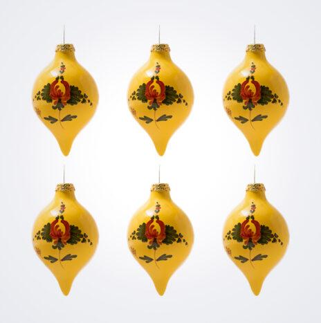 Yellow Droplet Christmas Bauble Set