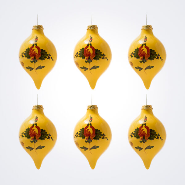 Yellow Droplet Christmas Baubles Set.