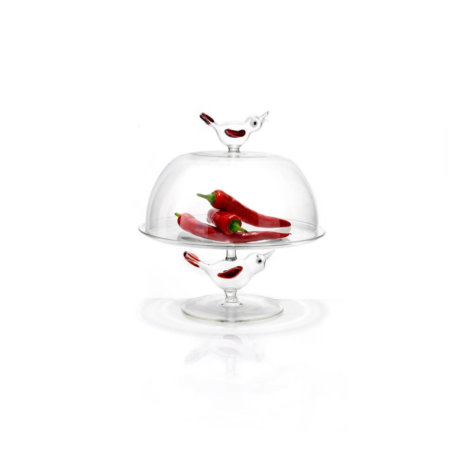 Birdy Glass Cake Stand with Dome