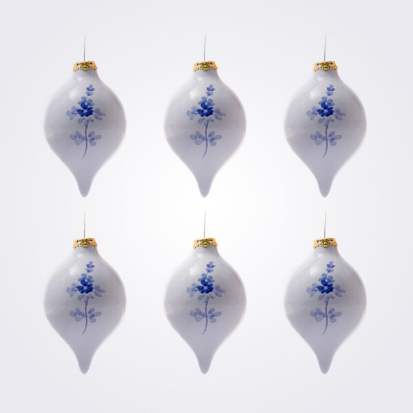 Blue droplet christmas bauble set Product picture.