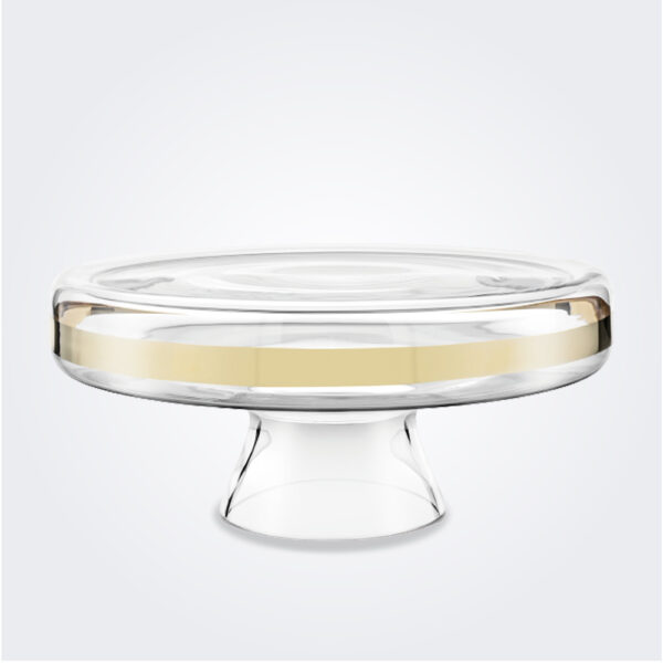 Clear and gold cake stand product picture.