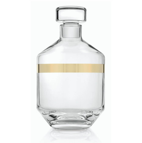 Clear & Gold Liquor Glass Bottle