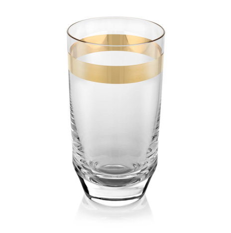 CLEAR & GOLD TUMBLER GLASS SET