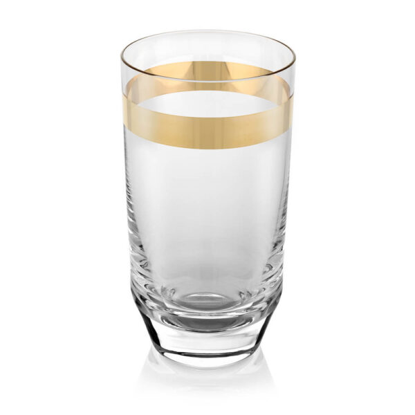 CLEAR & GOLD TUMBLER GLASS SET (1)