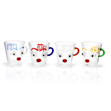 FACES GLASS MUGS SET