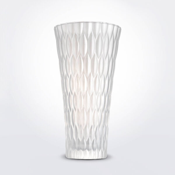 Pearly white vase product photo.