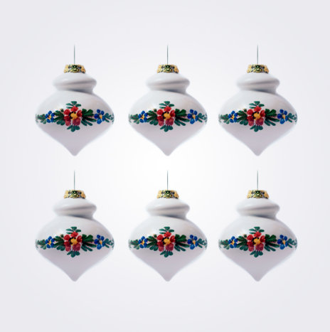 White Finial Christmas Bauble Set