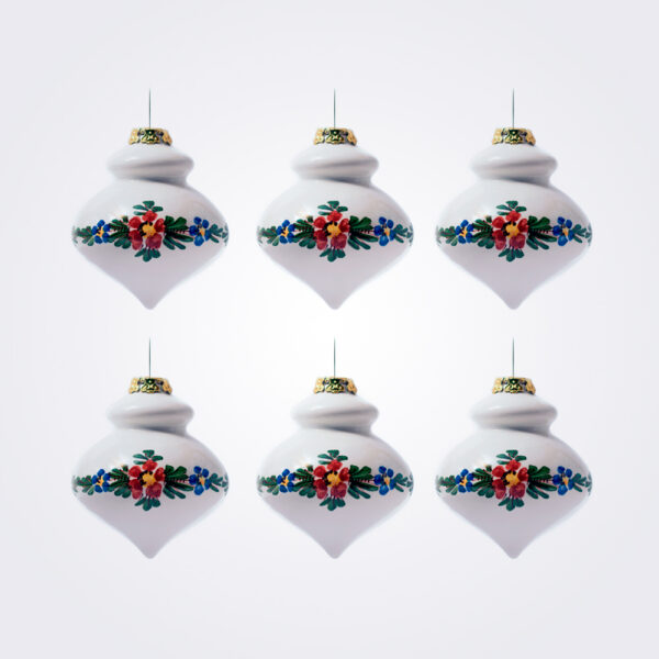 White finial christmas bauble set product picture.
