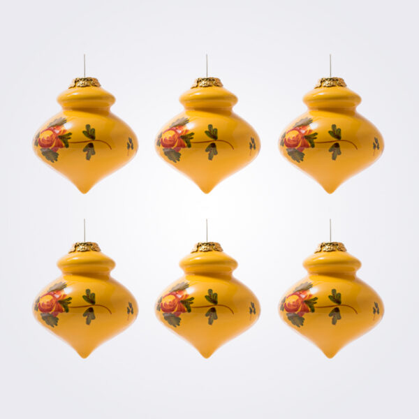 Yellow finial christmas bauble set product picture.
