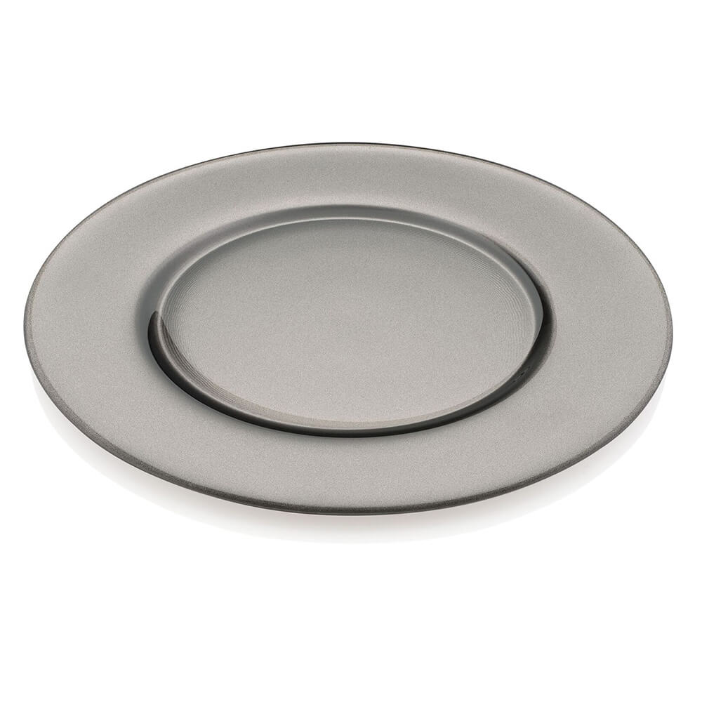 ARIA METALLIC LEAD GRAY CHARGER PLATE