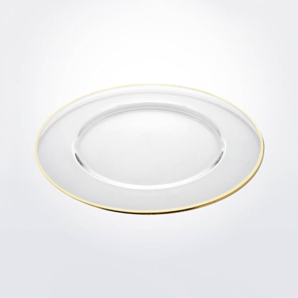 Aria golden rim charger plate gray background.
