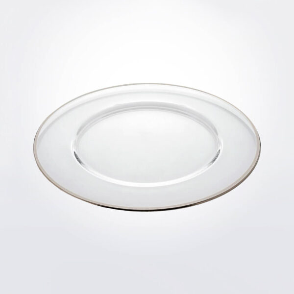 Aria platinum rim charge plate gray background.