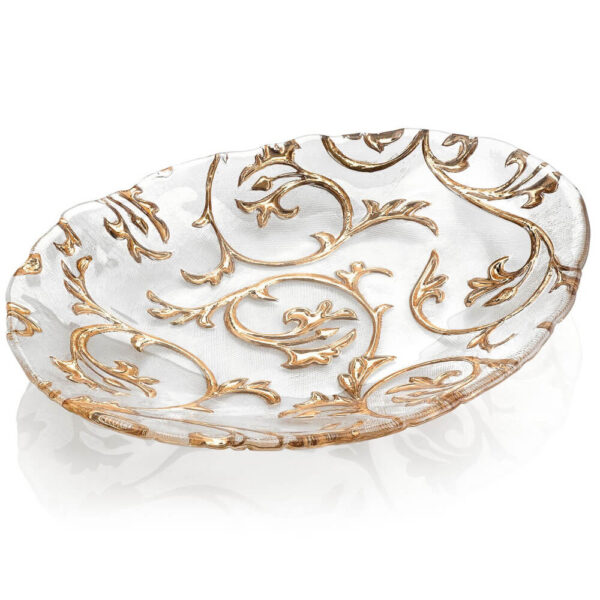 Bisanzio clear and gold centerpiece large.