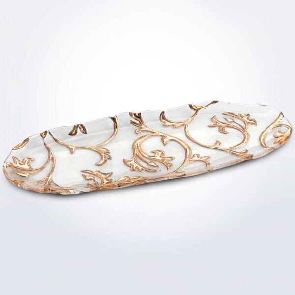 Bisanzio clear & gold oval tray product photo.