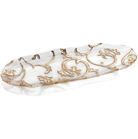 Bisanzio Clear & Gold Oval Tray
