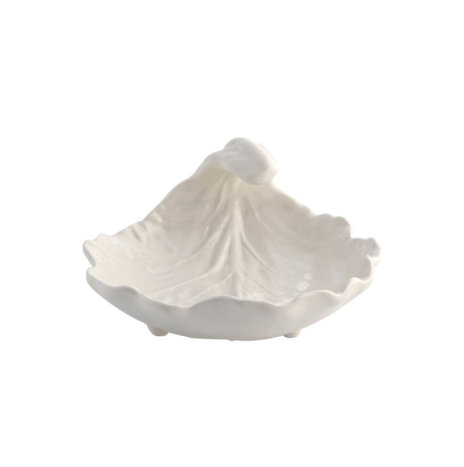 CREAM CURVED LEAF BOWL SET