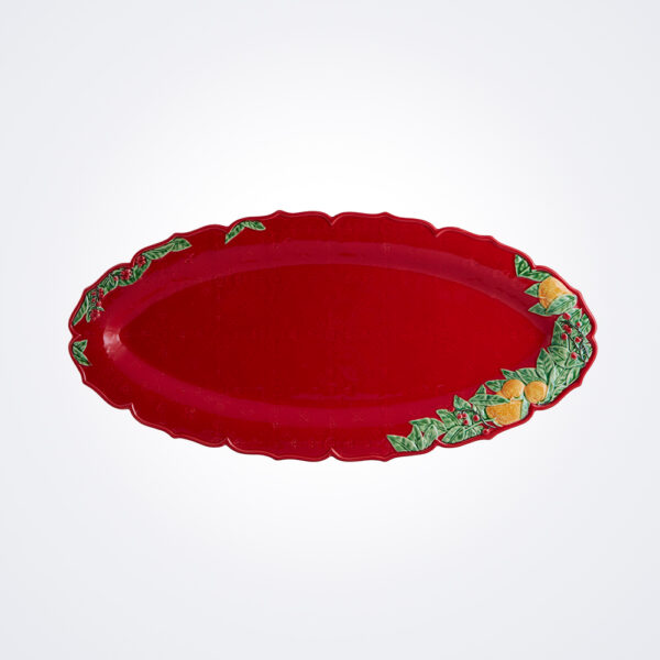 Christmas red narrow platter product picture.