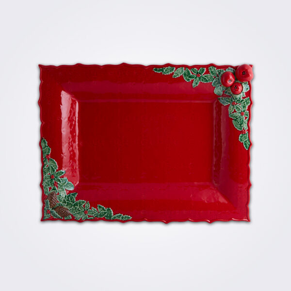 Christmas red tray product picture.