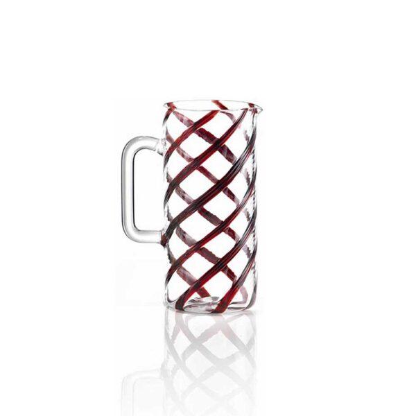 GLASS RED SPIRALE CARAFFE