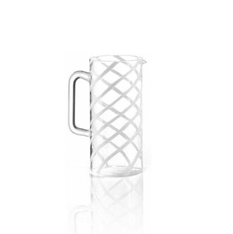 Glass White Spirale Carafe