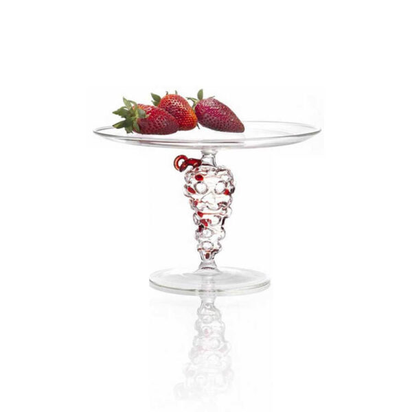 Grapes glass cake stand on white background.