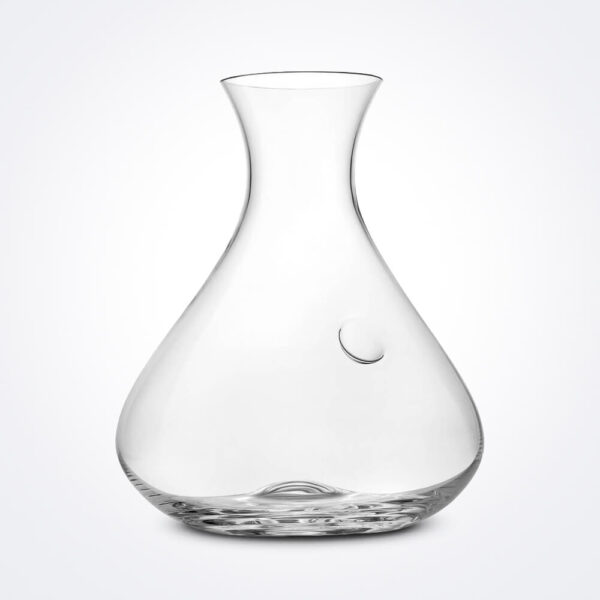 Sommelier clear wine decanter gray background.