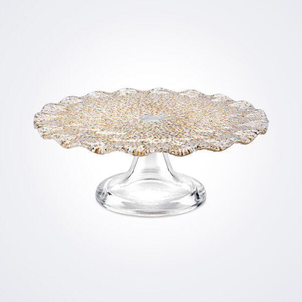Special clear gold cake stand medium product photo.