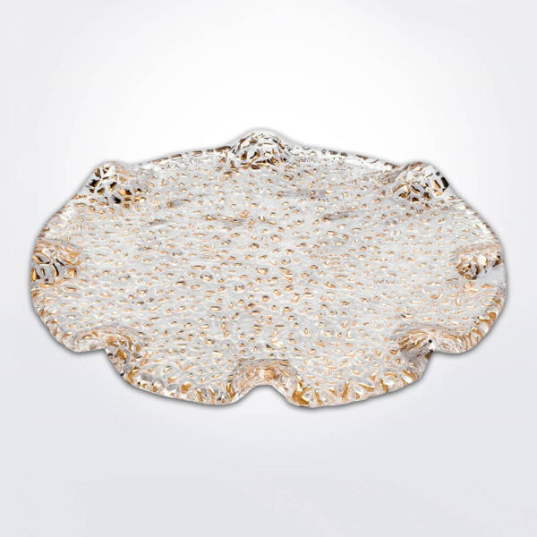 Special clear & gold dessert plate gray background.