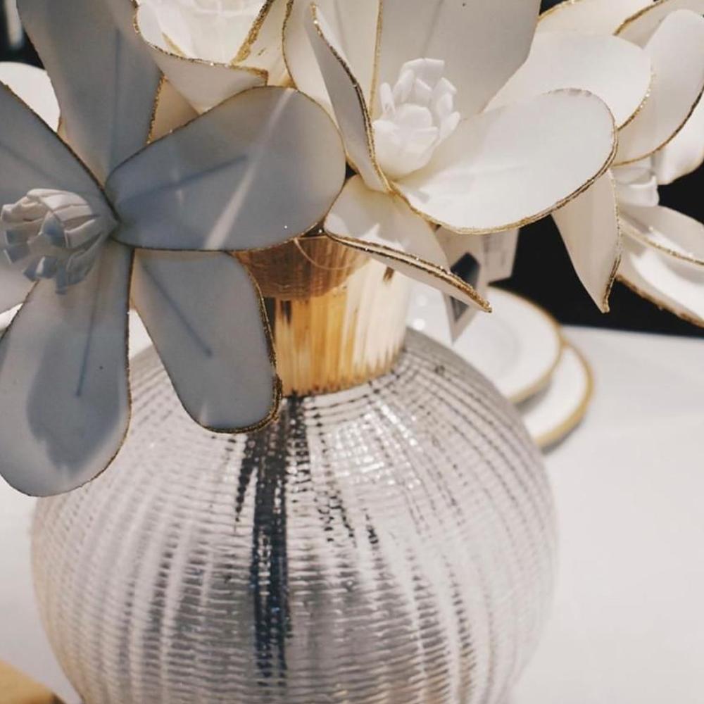 Medium Ophelia Clear & Champagne Glass Vase