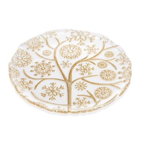 XMAS GOLDEN SNOWFLAKES DECORATIVE PLATE