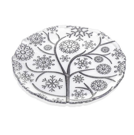 XMAS GRAY SNOWFLAKES DECORATIVE PLATE